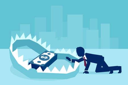 Concepto de trampa de dinero en los negocios, ilustración plana vectorial
