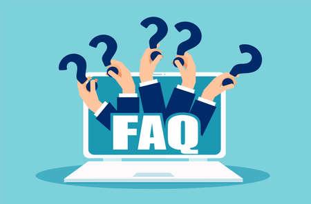 Bannière FAQ. Ordinateur avec des mains tenant des icônes de question. Concept vectoriel pour les questions fréquemment posées en ligne poursuivant la plate-forme de médias sociaux