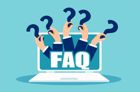 FAQ-Banner. Computer mit den Händen, die Frageikonen halten Vektorkonzept für häufig gestellte Fragen online, die Social-Media-Plattform verklagen