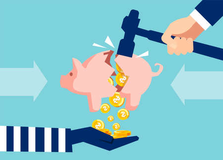 Creative illustration of thief stealing money from piggy bank with savings on blue background