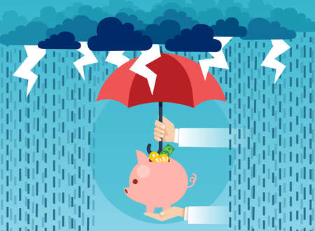 Creative vector image of man holding piggy bank under umbrella covering it from risks