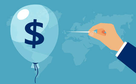 Vector of a hand with needle pierces the balloon with dollar sign. Concept financial crisis, bankruptcy, income loss 矢量图像