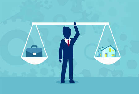 Graphic design of businessman holding scales with home and work in balance on blue background