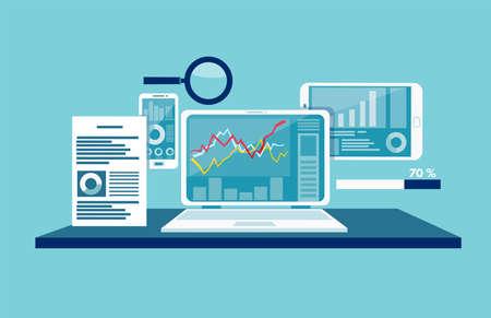 Vektorkonzept für Datenüberwachung, Web-Traffic-Analyse. Vektorgrafik