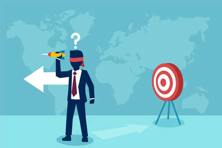Vector of a confused blindfold businessman with question mark trying to hit a target with dart