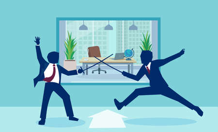 Vector image of businessmen in rivalry fighting with swords in office Stock Illustratie