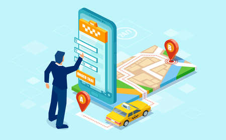 Creative isometric design of man using mobile app to call for taxi with map on blue background