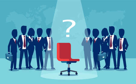 Vector of businessmen and businesswomen standing with empty chair in the middle. Candidate, promotion and career position concept. Stock Illustratie