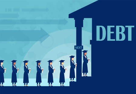 Ahorros para educación para la universidad. Concepto de préstamo. Vector de estudiantes haciendo cola para pedir dinero prestado en el banco para pagar la educación.