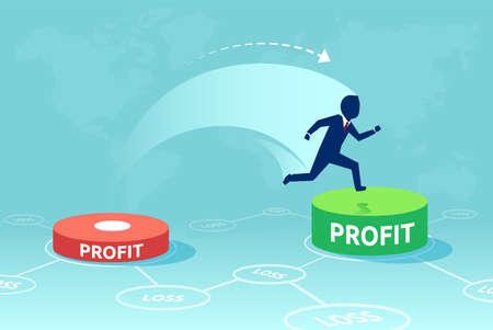 Cartoon-Design des Mannes, der auf grünem Knopf mit wachsendem Gewinn auf blauem Hintergrund läuft und springt