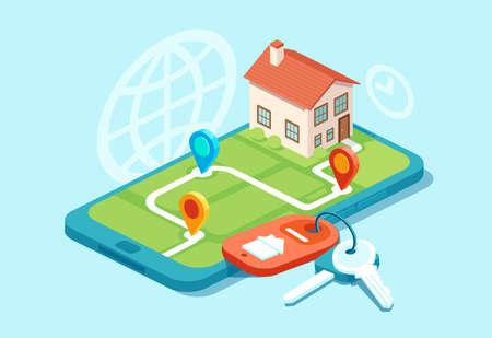 Vektor eines Musterhauses auf einer Karte, Hausschlüsseln und Symbolen, mobiles App-Konzept für Immobilien