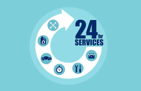 Circle arrow step services 24 hours with icons for automobile care. Vector for car services concept  イラスト・ベクター素材