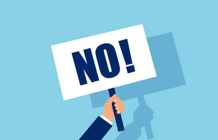 Vecteur d'une main d'homme d'affaires tenant une pancarte de choix de non-réponse