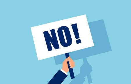 Vector of a businessman hand holding a No answer choice placard