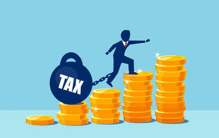 Vecteur d'un homme d'affaires surchargé d'impôts élevés