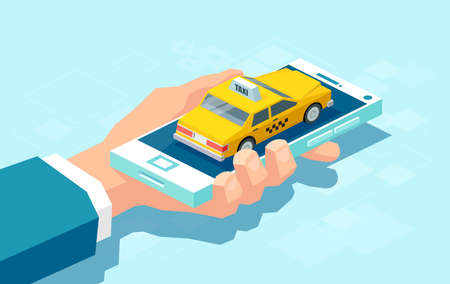 Creative colorful design in isometry of crop man holding smartphone with taxi car for service app Illustration