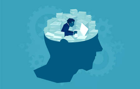 Concept vector design of writer sitting in human mind and creating story with piles of papers around Stock Illustratie