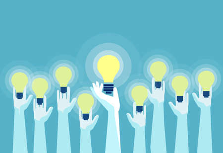 Concept of great ideas competition. Vector of multiple hands holding bright lightbulbs. Stock Illustratie
