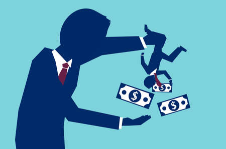 Vector concept of man shaking business partner to take all his money on blue background Çizim
