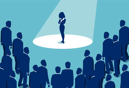 Graphic design of businesswoman standing in spotlight being boss and leader among men in business world
