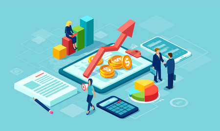 Vektor des Datenanalysekonzepts mit einem Team von Geschäftsleuten, die ein erfolgreiches Geschäft mit modernen Technologiegeräten aufbauen Vektorgrafik