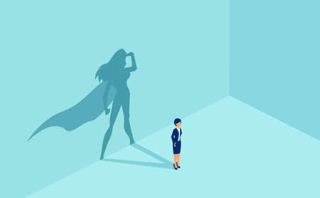 Vector of a businesswoman with superhero shadow. Symbol of ambition motivation leadership and challenge.