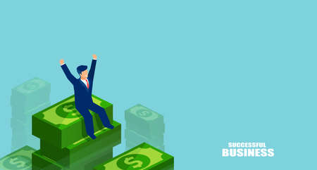 Graphic design of businessman in isometric style sitting on tall pile of dollars celebrating victory on blue background