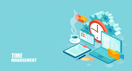Time management concept. Efficient use of worktime for implementation of the business plan. Vector of a top view of the workplace. Stock Vector - 116120304