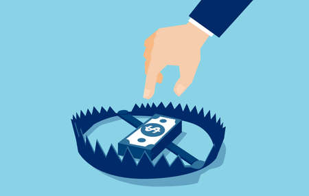 Vector of a businessman hand trying to reach money trap with dollar banknotes Illustration