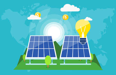 Creative graphic design of solar batteries with burning lamps and flying dollar coins showing innovative green world Stock Illustratie