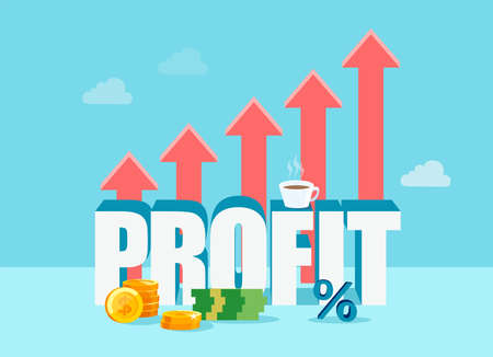 Vector design of work Profit with growing red arrows on blue background Stock Illustratie