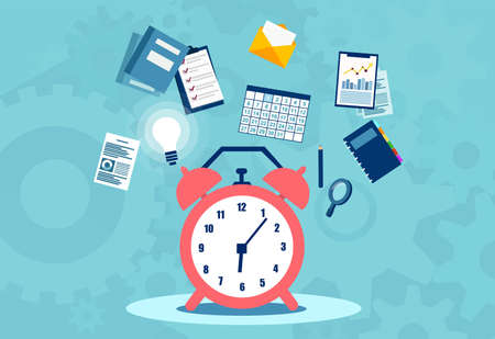 Time management planning, organization and working overtime concept. Flat vector illustration. Stock Illustratie