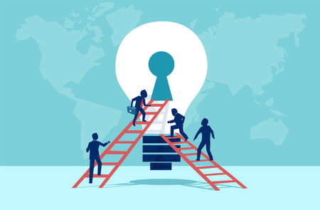 Vector of business people climbing up the ladder into light bulb open keyhole. Immerse in the idea teamwork creativity concept. Stock Illustratie