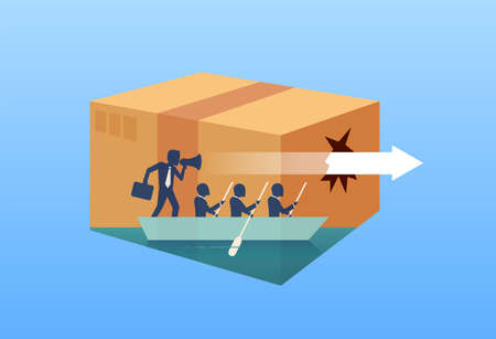 Vector design of a man with businesspeople on boat sailing out of box following special strategy