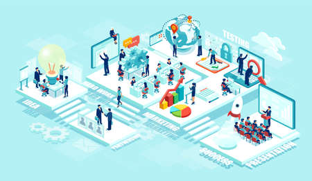 Isometric vector of virtual office with businesspeople, corporate employees working together on a new startup using mobile devices. Business management, education, online communication network Stock Illustratie