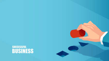 Business strategy concept. Vector of a businessman hand making a correct choice strategic move
