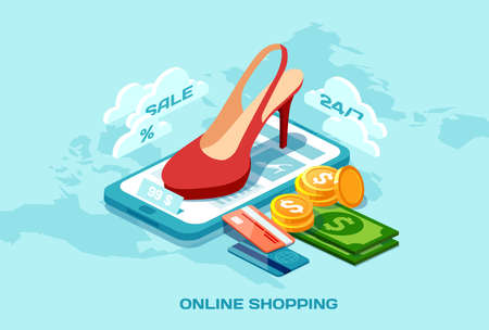 Online shopping ecommerce concept. Isometric poster vector with red shoes credit card money and tablet computer