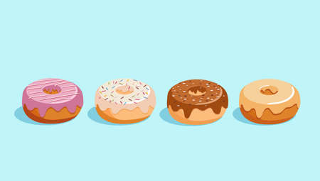 Donut vector set isolated on a blue background. Donuts collection with sugar icing with white and  dark chocolate, strawberry and caramel Illustration