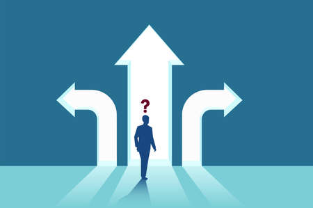 Business decisions concept. Vector of a perplexed businessman with question mark standing in front of arrows crossroads making a right choice. Career path strategy.