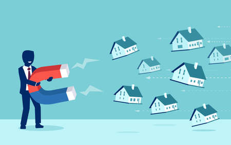 Real estate market concept. Vector of a businessman with magnet attracting houses