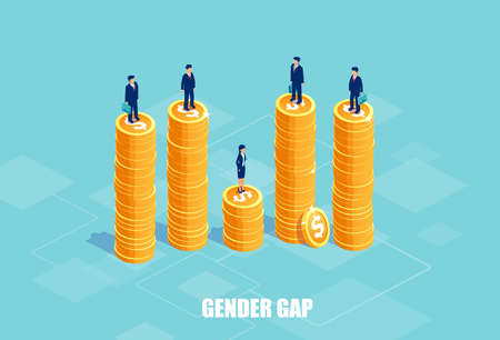 Gender gap and pay difference concept. Vector of businessmen and businesswoman on piles of coins of different height. Symbol of discrimination and injustice in corporate life. Illustration