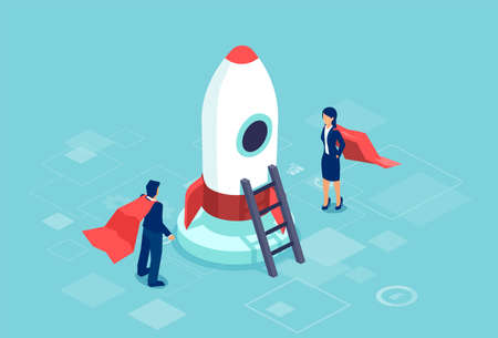 Business startup concept. Vector of a super hero businesswoman and buisnessman standing next to a rocket as a symbol of successful entrepreneurship, innovation and technology Ilustração
