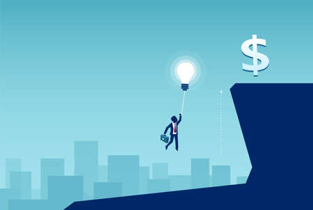 Business idea and reward concept. Vector of a businessman flying on a balloon light bulb to reach his financial goals Imagens - 116120848