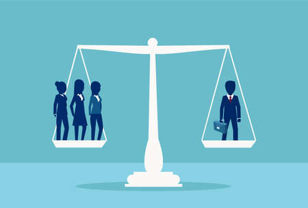 Gender discrimination and inequality in corporate life concept. Vector of one businessman balancing three businesswomen on a scale. Sex inequality symbol. Ilustração