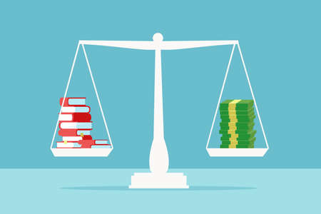 Value of education concept. Vector of a stack of books on a scale balancing pile of dollar cash Illusztráció