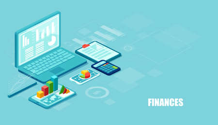 Finance and innovative mobile technology concept. Isometric vector of financial apps and services on laptop and modern gadgets on blue background