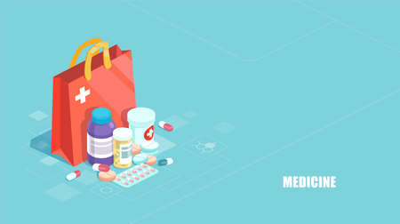 Pharmacy concept. Vector of medicine, hospital set of drugs with labels on blue background Illustration