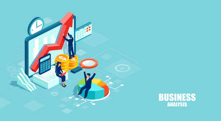 Business analysis and marketing using modern technology concept. Isometric vector of businesspeople working as a team developing a successful strategy