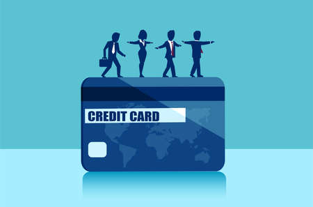 Vector of businesspeople balancing on the edge of credit card. Money borrowing financial risks concept