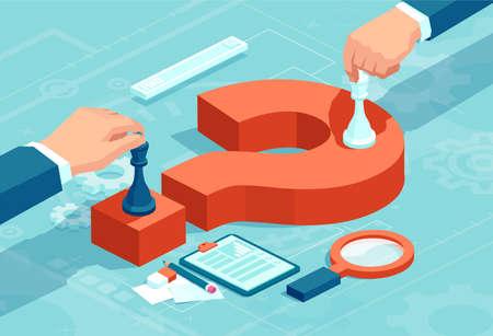 Vektorkonzept von Geschäftsleuten, die Schachfiguren auf rotem Fragezeichen bewegen, um strategische Entscheidungen zu verhandeln.